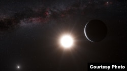 An artist's impression of the planet around Alpha Centauri B, a member of the triple star system that is the closest to Earth. (photo: European Southern Observatory)
