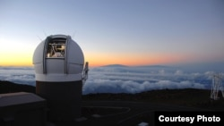 This undated photo made available by the University of Hawaii shows the Pan-STARRS1 Observatory on Haleakala, Maui, Hawaii at sunset. Object named Oumuamua first spotted last month by the Pan-STARRS telescope.