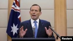 El primer ministro australiano, Tony Abbott, dio una rueda de prensa en Pekín (China) este sábado.