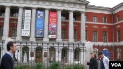 位于莫斯科市中心的俄罗斯当代历史博物馆去年夏季举办了俄罗斯与朝鲜友谊历史展览(美国之音白桦拍摄))
