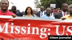 MDC-T president Morgan Tsvangirai leading the march Thursday.