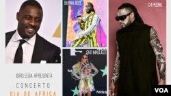 Montagem de fotos com Idris Elba e os cantores Burna Boy, Sho Madjozi e C4 Pedro