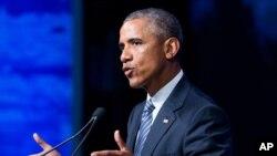Presiden AS Barack Obama berbicara dalam konferensi GLACIER di Anchorage, Alaska (31/8). (AP/Andrew Harnik)