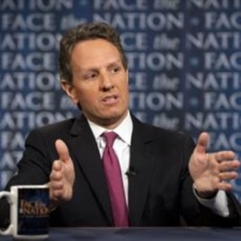In this photo provided by CBS News, U.S. Treasury Secretary Timothy Geithner talks about the debt crisis on CBS's 'Face the Nation' in Washington, July 10, 2011