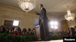 Presiden AS Barack Obama melakukan jumpa pers pertama di Gedung Putih sejak terpilih kembali, Rabu (14/11).