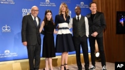 President of the Hollywood Foreign Press Association Lorenzo Soria, from left, Anna Kendrick, Laura Dern, Don Cheadle and EVP of Television for Dick Clark Productions Barry Adelman pose during the nominations for the 74th annual Golden Globe Awards at the