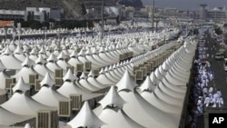 Thousands of tents housing Muslim pilgrims are crowded together in Mina near Mecca, Saudi Arabia, 14 Nov 2010. The annual Islamic pilgrimage draws 2.5 million visitors each year, making it the largest yearly gathering of people in the world.