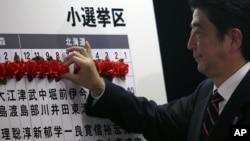 自民党领导人、前首相安倍晋三在当选的议员名字上做记号