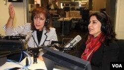 Najiba Khalil (left) and Noshaba Ashna, co-hosts of Afghan Service call-in show for women, Najiba Noshaba