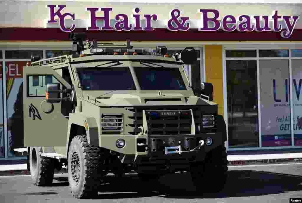 An armored vehicle is parked at Mondawmin Mall in Baltimore April 28, 2015.