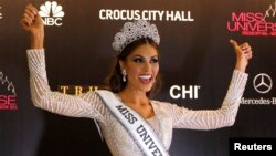 올해 미스유니버스대회에서 우승한 베네수엘라 출신 가브리엘라 이슬러가 9일 기자회견에 참석했다.