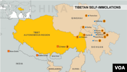 Map of Tibetan immolations, China, Tibet