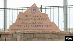 The softball field at Columbine High School in Littleton, Colorado, is dedicated to slain teacher Dave Sanders, who was among 13 killed on April 20, 1999. (M. Burke/VOA)