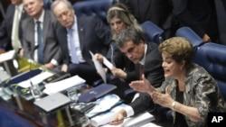 Brazil's suspended President Dilma Rousseff speaks at her own impeachment trial, in Brasilia, Brazil, Aug. 29, 2016.