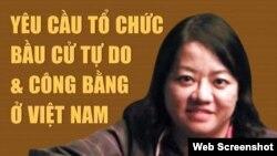 Một screenshot trên trang Facebook của nhà báo tự do Phạm Đoan Trang, kêu gọi bầu cử tự do và công bằng. Hình minh họa.