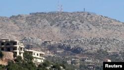 Posisi Israel dilihat dari desa Kfar Shouba dekat perbatasan Israel dan Lebanon.