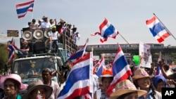 2014年1月16日,泰国反政府抗议者游行做过曼谷的胜利碑。