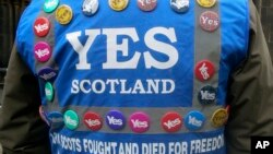 FILE - A man wears a multitude of 'yes' campaign badges during a pro-independence march in Edinburgh for the September vote on Scotland's independence from the United Kingdom.