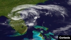 Poco después de tocar tierra en el norte de Florida, Beryl se convirtió de tormenta en una simple depresión (Foto:NOAA).