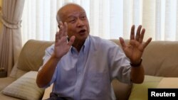 Prince Norodom Ranariddh gestures during an interview with Reuters at his home in central Phnom Penh, Cambodia, Oct. 14, 2017.