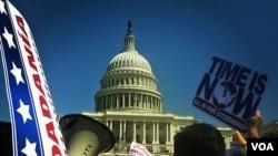 2013年4月10日美国国会大厦前举行的支持移民集会
