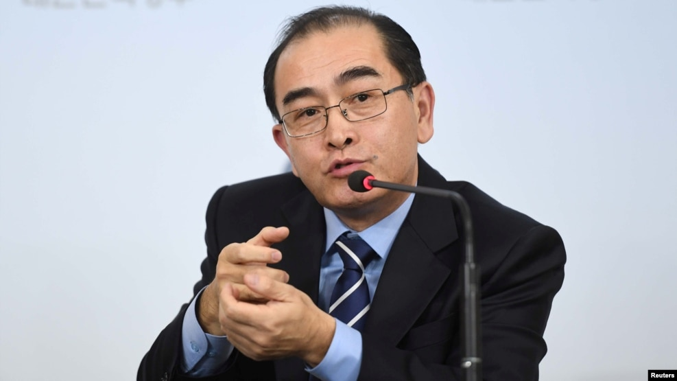 Thae Yong-ho, the former North Korean deputy ambassador to London, gestures while speaking during a news conference at the Government Complex in Seoul, South Korea, Dec. 27, 2016.