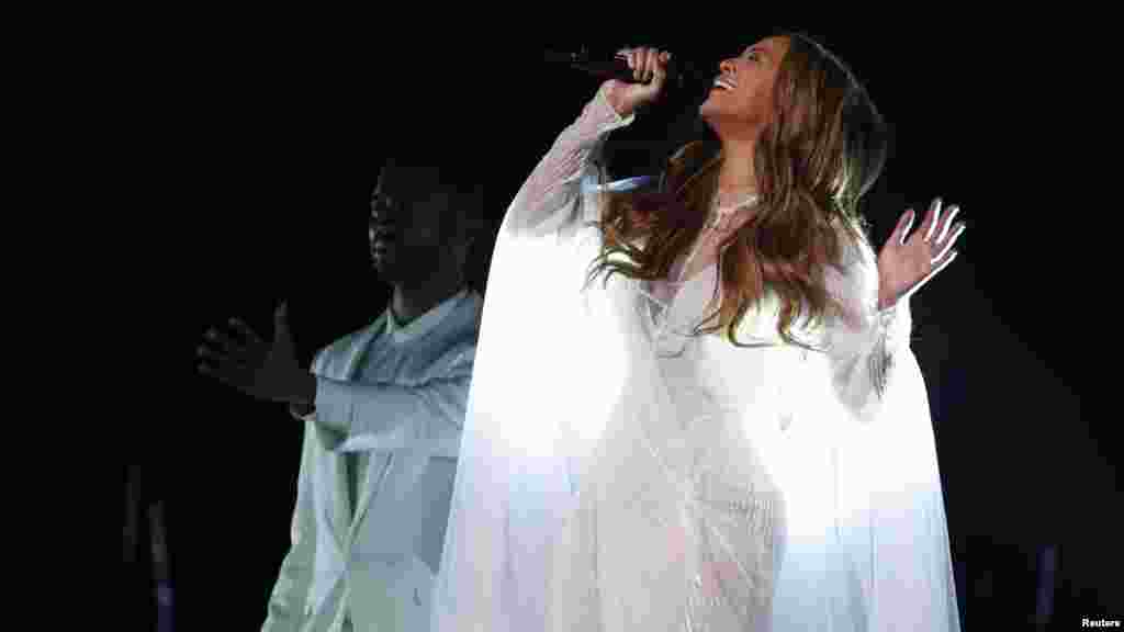 "Beyonce performs ""Take My Hand"" during the 57th annual Grammy Awards in Los Angeles, California, Feb. 8, 2015."