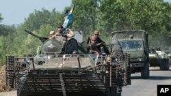 Binh sĩ chính phủ tại khu vực Donetsk ở miền đông Ukraine, ngày 9/8/2014. Các lực lượng Ukraine đang chiếm ưu thế trong cuộc chiến chống phiến quân.