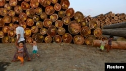 A woman walks with children near logs at a timber yard in Rangoon, Burma, also known as Myanmar, Jan. 31, 2014.