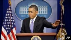 Tổng thống Hoa Kỳ Barack Obama nói chuyện trong một cuộc họp báo tại Tòa Bạch Ốc