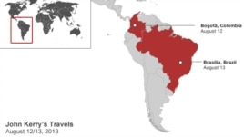 John Kerry travels to Colombia and Brazil, South America.
