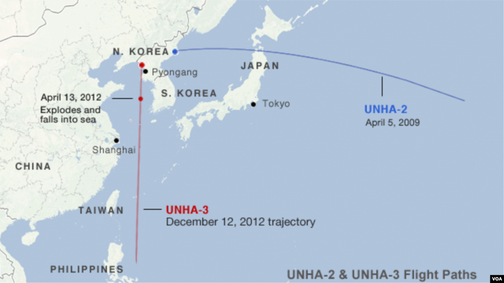 Trajectory paths of the UNHA-2 and UNHA-3 rockets near North Korea