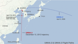 Trajectory paths of the UNHA-2 and UNHA-3 rockets near North Korea (CLICK TO ENLARGE)