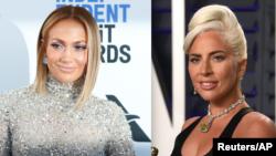 Jennifer Lopez, hagu da Lady Gaga, dama