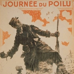 A 1915 poster showing a French soldier holding a grenade