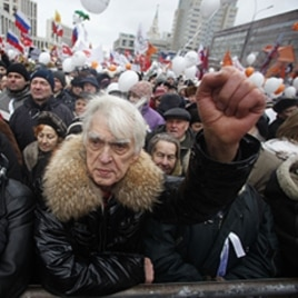 Demonstrators hold a rally protesting against election fraud in Moscow, December 24, 2011.