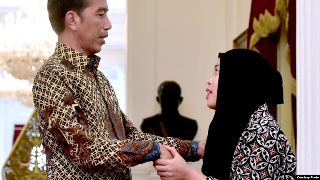 Cô Aisyah gặp ông Widodo hôm 12/3.