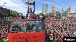 Parade en l'honneur des Raptors, nouveaux champions de la NBA, Toronto, Canada, le 17 juin 2019.