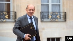 French Defence Minister Jean-Yves Le Drian at Elysee presidential Palace, Feb. 6, 2013