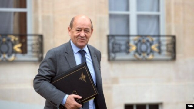 French Defense Minister Jean-Yves Le Drian at Elysee presidential Palace in this February 6, 2013 file photo.