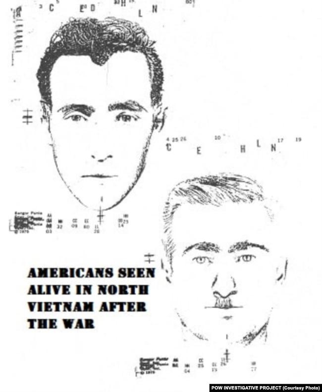 Bản phác thảo chân dung hai quân nhân Mỹ mất tích được đăng trên website của Dự án điều tra về POW.