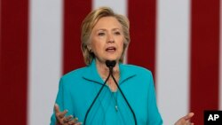 Ứng cử viên Tổng thống Ðảng Dân chủ Hillary Clinton.