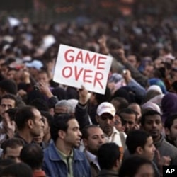 Egyptian protesters in Cairo's Tahrir Square demand the resignation of President Hosni Mubarak, January 29, 2011