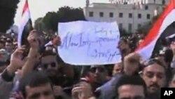 埃及民众1月25日聚集在开罗的解放广场纪念起义一周年