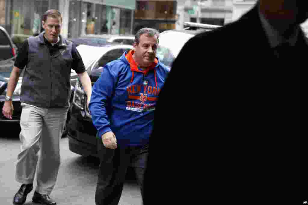 Trump supporter Gov. Chris Christie arrives at Trump Tower.