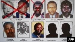 种族灭绝逃犯追踪办公室2020年5月22日在卢旺达办公室贴出的逃犯通缉令。