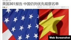 中國報導有關美國貿易代表辦公室特別301報告