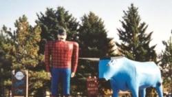 Paul Bunyan and Babe the Blue Ox statue in Bemidji, Minnesota.