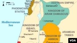 Wilayah zaman Moab di Timur Tengah pada tahun 830 S.M. (warna ungu).