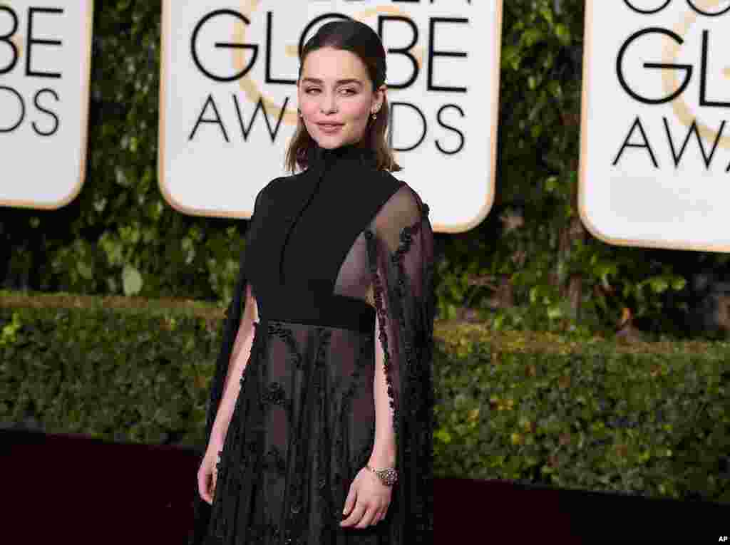Emilia Clarke arrives at the 73rd annual Golden Globe Awards on Jan. 10, 2016, at the Beverly Hilton Hotel in Beverly Hills, Calif.